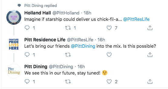 Tweet about Starship robots picking up Chik-Fil-A