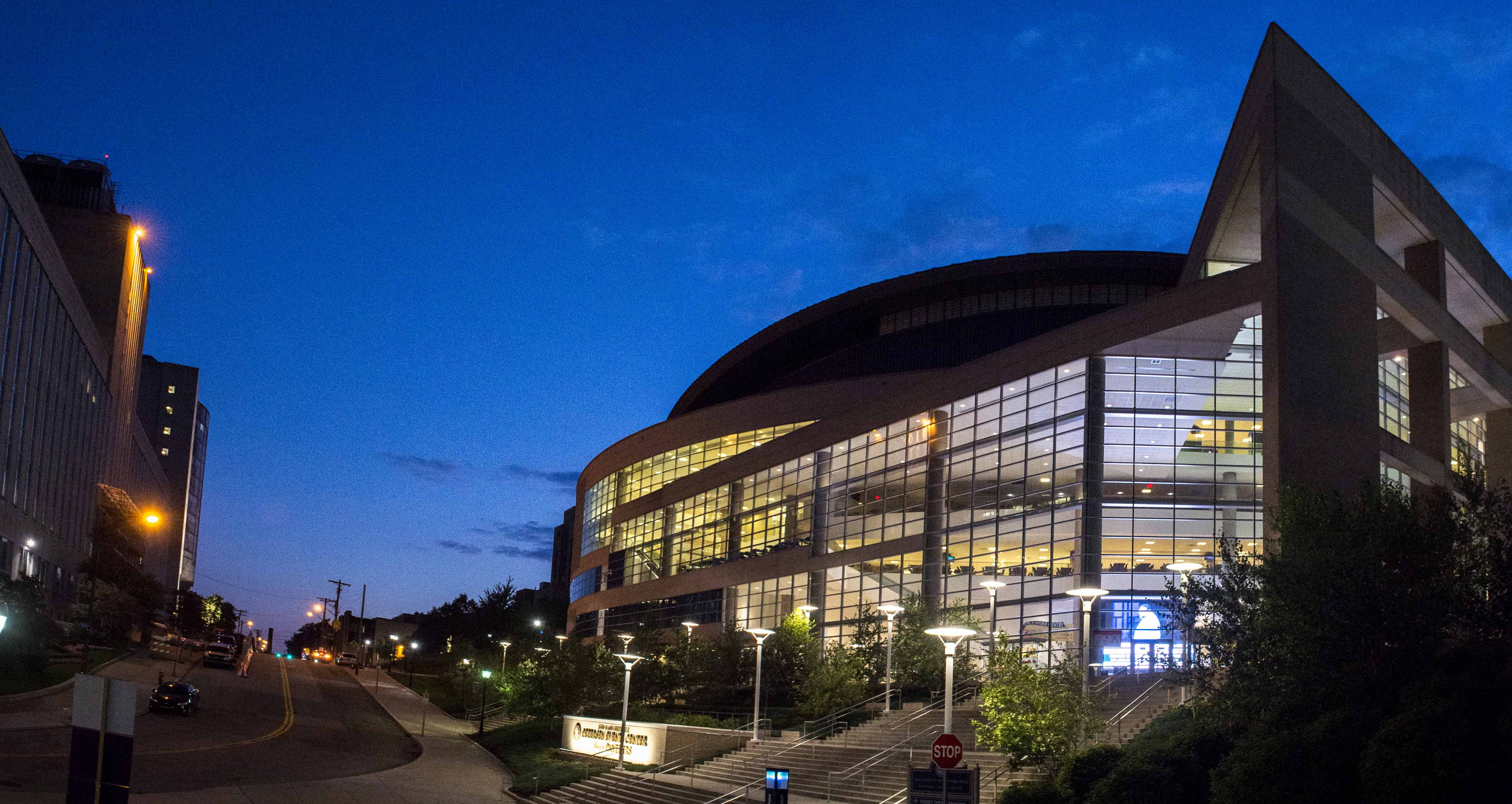 Petersen Events Center at night